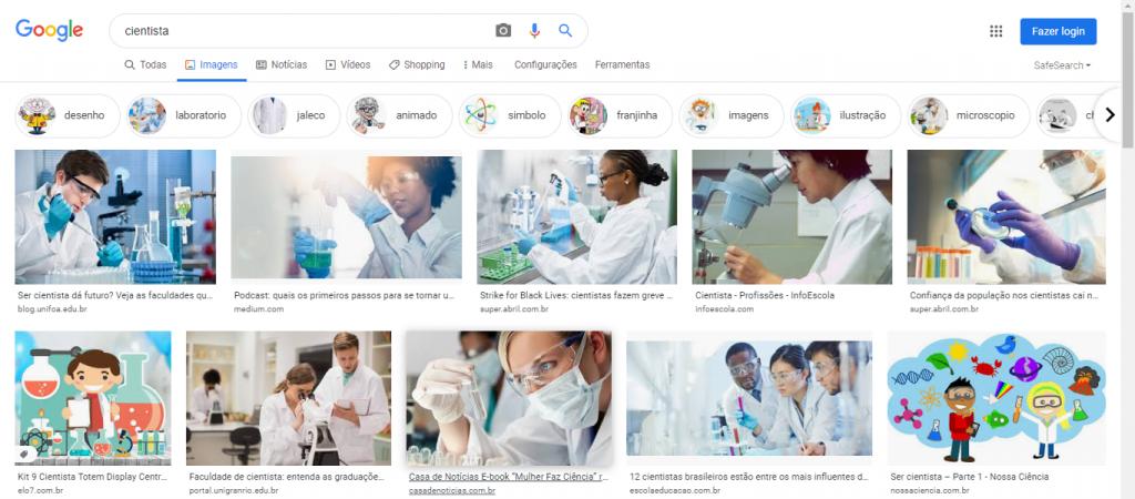 """Figura 1 – Busca pela palavra """"cientista"""" no Google em 28 de julho de 2020"""