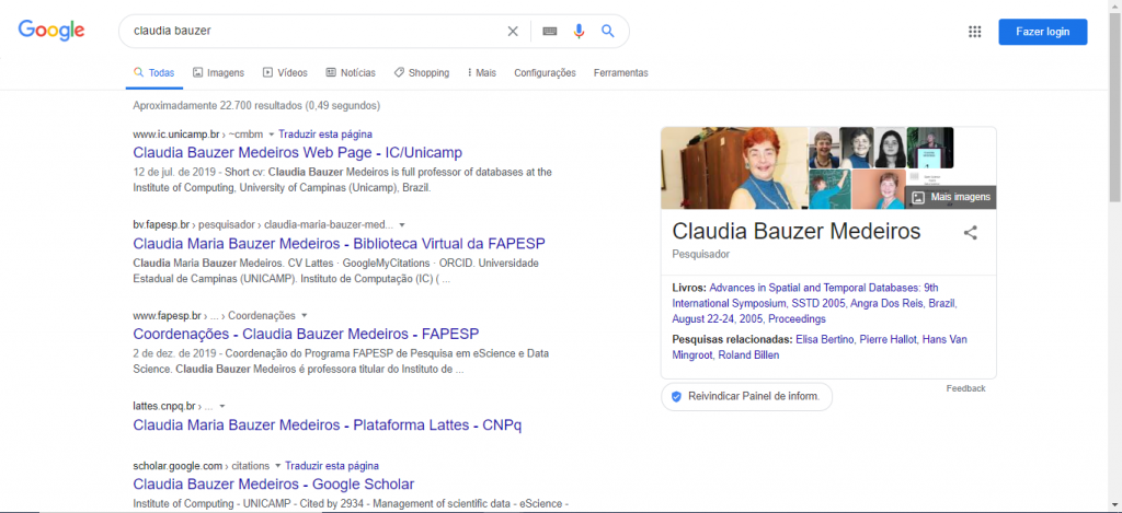 """Figura 5 – Resultado da busca por """"Claudia Bauzer"""" no Google em 24 de julho de 2020"""