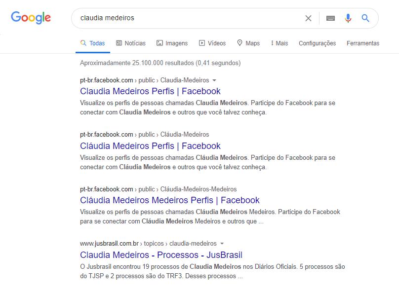 """Figura 4 – Resultado da busca por """"Claudia Medeiros"""" no Google em 28 de julho de 2020"""