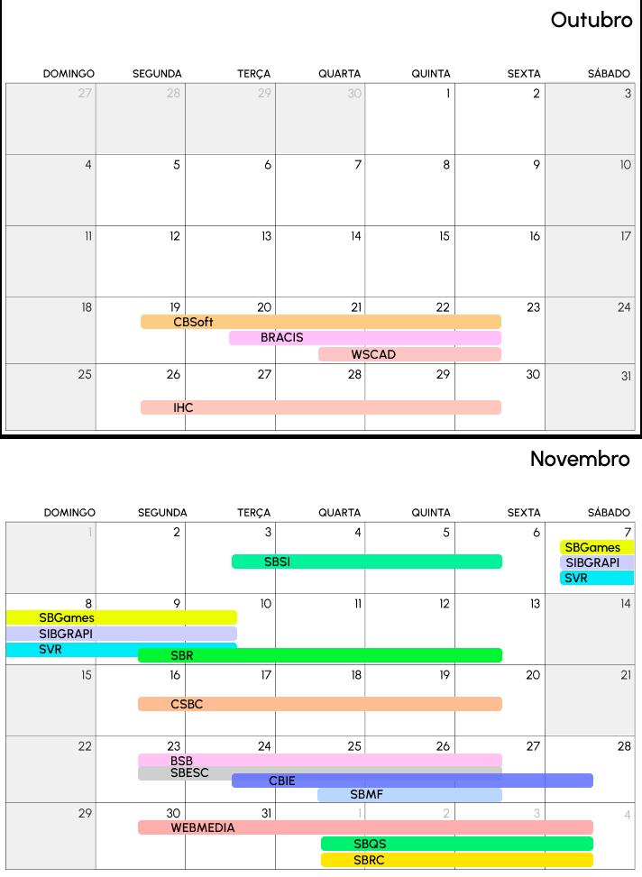 calendário de eventos da SBC em 2020