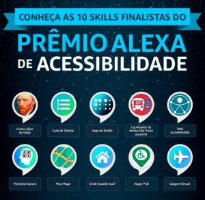 gráfico com ícones dos 10 finalistas do prêmio Alexa acessibilidade