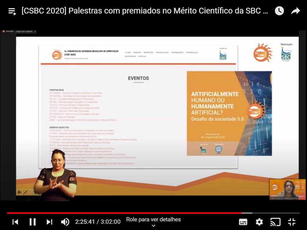 Print de um vídeo do Youtube do vídeo de uma apresentação da SBC no CSBC 2020