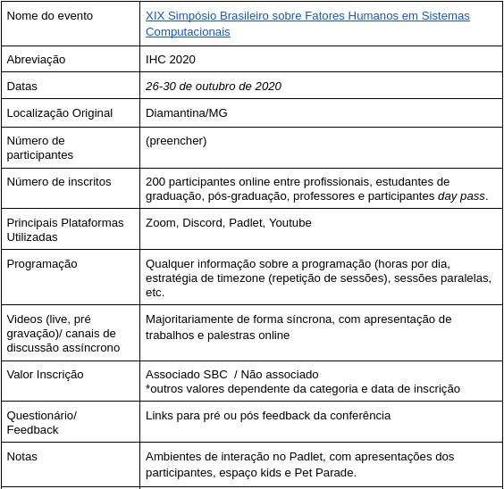 print do formulário de informações de um evento virtual. Print mostra informações do evento IHC 2020