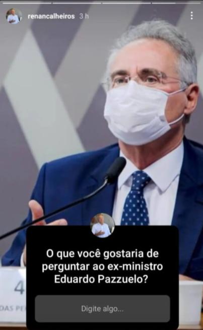 Renan Calheiros interage no Instagram