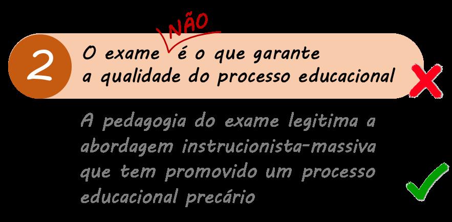 Equívoco 2: Exame é o que garante a qualidade do processo educacional