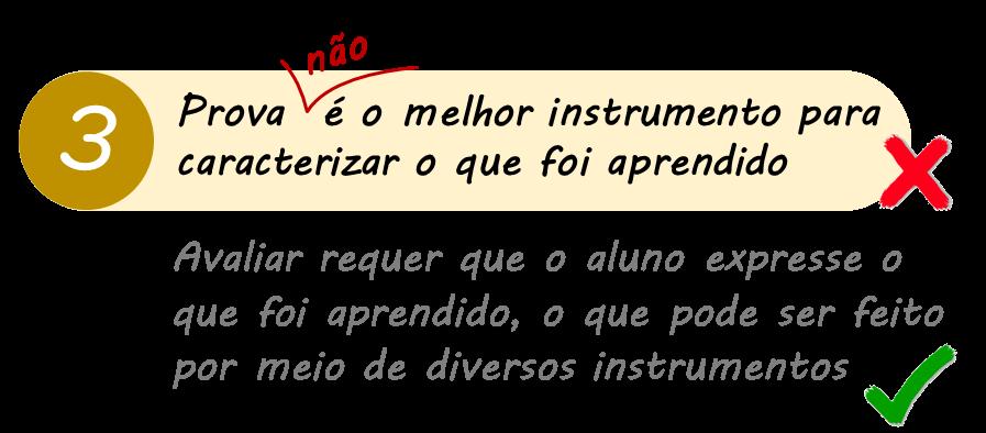 Equívoco 3: Prova é o melhor instrumento para caracterizar o que foi aprendido